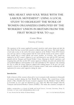 'Her Heart and Soul were with The Labour Movement': Using a Local Study to Highlight the Work Of Women Organizers Employed by the Workers' Union in Britain From the First World War to 1931