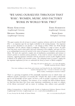 'We Sang Ourselves Through That War': Women, Music and Factory Work in World War Two