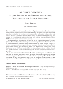 Major Accessions to Repositories in 2004 Relating to the Labour Movement