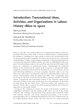 Introduction: Transnational Ideas, Activities, and Organizations in Labour History 1860s to 1920s