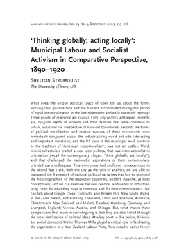 'Thinking globally; acting locally': Municipal Labour and Socialist Activism in Comparative Perspective, 1890–1920