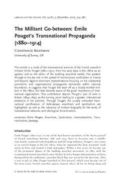 The Militant Go-between: Émile Pouget's Transnational Propaganda (1880–1914)