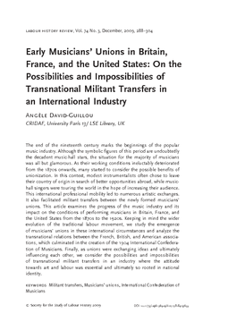 Early Musicians' Unions in Britain, France, and the United States: On the Possibilities and Impossibilities of Transnational Militant Transfers in an International Industry