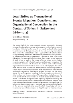Local Strikes as Transnational Events: Migration, Donations, and Organizational Cooperation in the Context of Strikes in Switzerland (1860–1914)