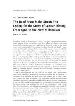 Fifty Years of Labour History The Road From Malet Street: The Society for the Study of Labour History, From 1960 to the New Millennium
