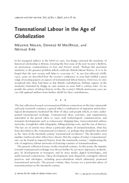 Transnational Labour in the Age of Globalization