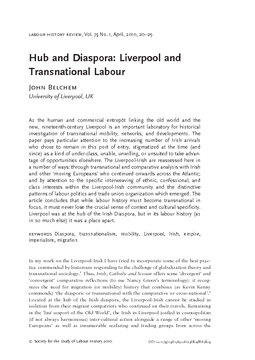 Hub and Diaspora: Liverpool and Transnational Labour