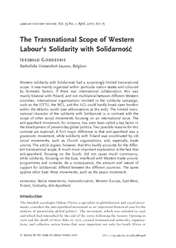 The Transnational Scope of Western Labour's Solidarity with Solidarność