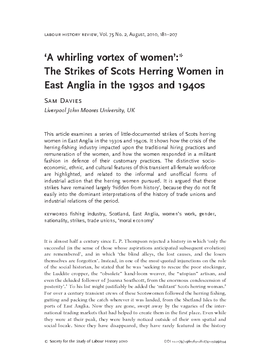 'A whirling vortex of women': The Strikes of Scots Herring Women in East Anglia in the 1930s and 1940s