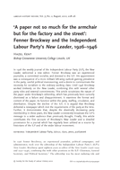'A paper not so much for the armchair but for the factory and the street': Fenner Brockway and the Independent Labour Party's New Leader, 1926–1946