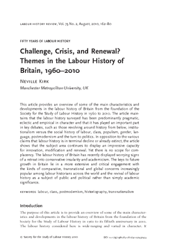 Challenge, Crisis, and Renewal? Themes in the Labour History of Britain, 1960–2010