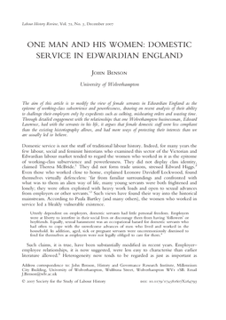 One Man and his Women: Domestic Service in Edwardian England