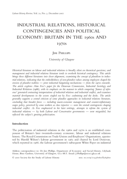 Industrial Relations, Historical Contingencies and Political Economy: Britain in the 1960s and 1970s