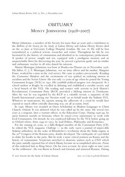 Monty Johnstone (1928–2007)