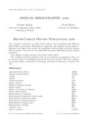 British Labour History Publications 2006