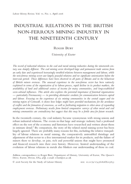 Industrial Relations in the British Non-ferrous Mining Industry in the Nineteenth Century