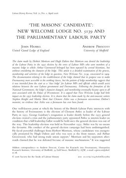 'The Masons' Candidate': New Welcome Lodge No. 5139 and the Parliamentary Labour Party