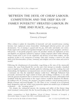Between the Devil of Cheap Labour Competition and the Deep Sea of Family Poverty?' Sweated Labour in Time and Place, 1840–1914