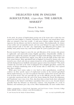 Delegated Risk in English Agriculture, 1750–1850: the Labour Market