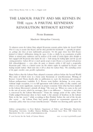 The Labour Party and Mr Keynes in the 1930s: a Partial Keynesian Revolution Without Keynes