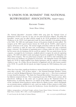 'A Union for Busmen!' The National Busworkers' Association, 1950–1955