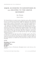 Major Accessions to Repositories in 2005 Relating to the Labour Movement