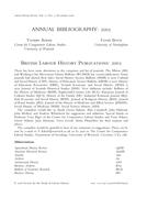 British Labour History Publications: 2005