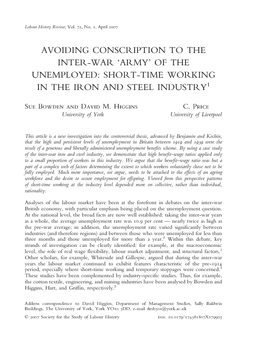 Avoiding Conscription to the Inter-war 'Army' of the Unemployed: Short-Time Working in the Iron and Steel Industry