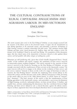 The Cultural Contradictions of Rural Capitalism: Anglicanism and Agrarian Labour in Mid-Victorian England