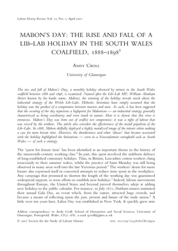 Mabon's Day: The Rise and Fall of a Lib–Lab Holiday in the South Wales Coalfield, 1888–1898