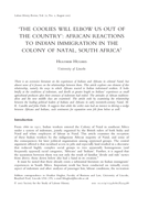 'The Coolies Will Elbow us out of the Country': African Reactions to Indian Immigration in the Colony of Natal, South Africa