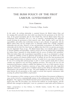 The Irish Policy of the First Labour Government