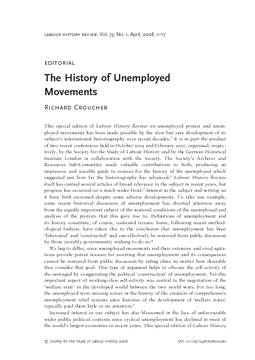 The History of Unemployed Movements