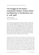 'The Struggle for the Streets': Unemployed Hawkers, Protest Culture and Repression in the Barcelona area (c. 1918–1936)