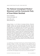 The National Unemployed Workers' Movement and the Communist Party of Great Britain Revisited
