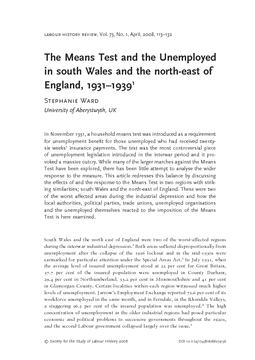 The Means Test and the Unemployed in south Wales and the north-east of England, 1931–1939