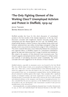 'The Only Fighting Element of the Working Class'? Unemployed Activism and Protest in Sheffield, 1919–24
