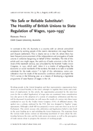 'No Safe or Reliable Substitute': The Hostility of British Unions to State Regulation of Wages, 1920–1935