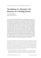 The Making of a 'Domestic' Life: Memories of a Working Woman