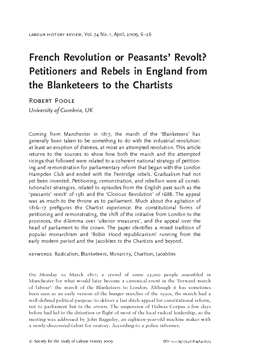 French Revolution or Peasants' Revolt? Petitioners and Rebels in England from the Blanketeers to the Chartists