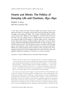 Hearts and Minds: The Politics of Everyday Life and Chartism, 1832–1840