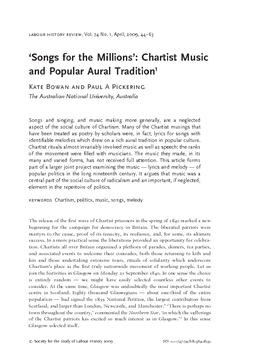 'Songs for the Millions': Chartist Music and Popular Aural Tradition