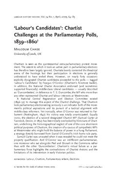 'Labour's Candidates': Chartist Challenges at the Parliamentary Polls, 1839–1860