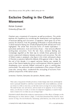 Exclusive Dealing in the Chartist Movement