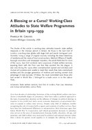 A Blessing or a Curse? Working-Class Attitudes to State Welfare Programmes in Britain 1919–1939
