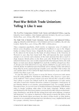 Post-War British Trade Unionism: Telling it Like it was