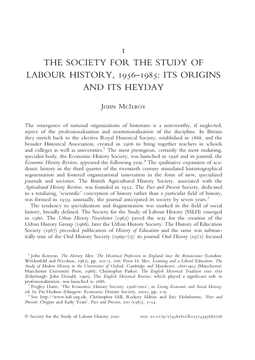 The Society for the Study of Labour History, 1956–1985: Its Origins and Its Heyday