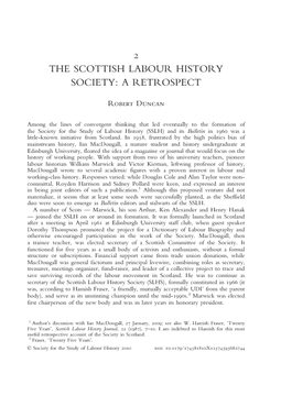 The Scottish Labour History Society: A Retrospect