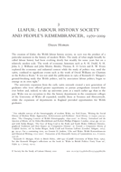 Llafur: Labour History Society and People's Remembrancer, 1970–2009
