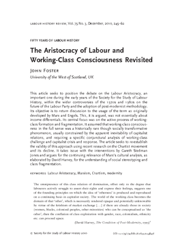 The Aristocracy of Labour and Working-Class Consciousness Revisited